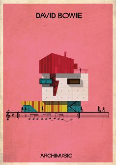 federico babina harmonizes sound and structure for archimusic ~ david bowie 'space oddity' is represented by the artist's signature red lightning bolt motif painted on his face