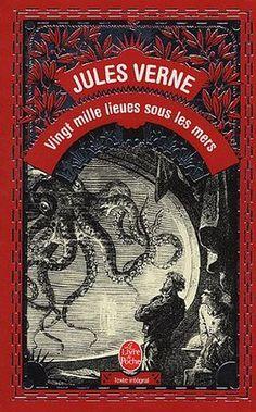 Jules Verne, Vingt mille lieues sous les mers Leagues Under the Sea) Book Cover Art, Book Cover Design, Book Design, Book Art, Jules Verne, Vintage Book Covers, Vintage Books, Nemo, Graphic Design Books