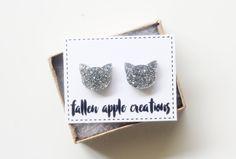 Cat earrings - glitter acrylic | cat face | kitten earrings | stud earrings | cute earrings | laser cut | crazy cat lady | cat accessories