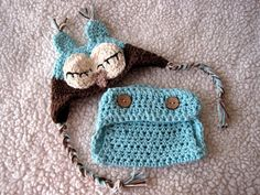 Crochet Baby Hat, Diaper Cover Set, Boy Owl Hat, Baby Owl Hat, Newborn Owl Hat, Infant Animal Hat, Baby Diaper Cover, Photo Prop, Blue