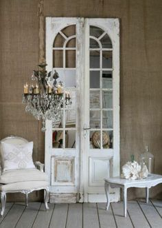 beautiful antique chandelier + doors