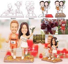 Auburn University Track Runner and FSU Cheerleader Wedding Cake Topper