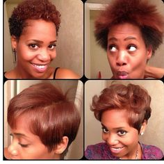 Picture Short Natural Hair Blowout Styles: Lover The Show Of Versatility Here! Natural Hair Haircuts, Natural Hair Blowout, Twa Hairstyles, Black Women Hairstyles, Celebrity Hairstyles, Braided Hairstyles, Wedding Hairstyles, Blowout Haircut, Curly Hair Styles