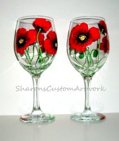 Poppies Red Poppies Red Flowers Green Poppy Set of 2 - 20 oz. White Wine Hand Painted Glasses Glassware Red Flowers