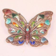 Vintage Chinese Silver Filigree & Enamel Butterfly Pin