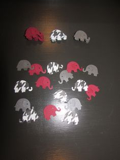 100 confetti elephants Alabama Football Roll Tide Baby shower reveal party birthday decoration supplies die cuts scrap book hounds tooth by ArtisticallySo on Etsy https://www.etsy.com/listing/199237896/100-confetti-elephants-alabama-football