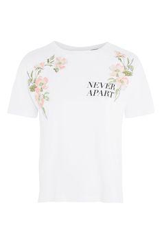 af450430b09  Never Apart  Slogan Embroidered T-Shirt