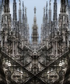 Milan Cathedral, Giger inspired by Douglas G. Giger Art, Hr Giger, Gothic Architecture, Architecture Design, Milan Cathedral, Amazing Buildings, Claude Monet, Architectural Elements, Far Away