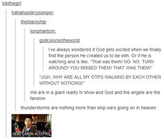 Thunderstorms are ship wars.  This made me laugh.