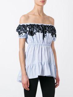 #AdoreWe #JustFashionNow Shirts & Blouses - Designer yinbo Blue Lace Trim Stripes Off Shoulder Top - AdoreWe.com