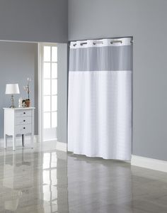Hookless Square Tile Jacquard Shower Curtain With Snap In Fabric Liner White