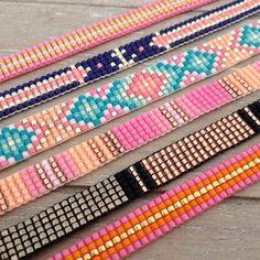 All 5 wide, except third down from top which is 7 wide Loom Bracelet Patterns, Bead Loom Bracelets, Bracelet Crafts, Woven Bracelets, Beaded Jewelry Patterns, Beading Patterns, Bead Loom Designs, Motifs Perler, Bead Crochet Patterns
