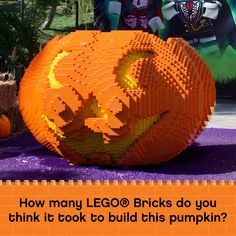 How many LEGO Bricks do you think it took to build this pumpkin? Legoland California, Lego Brick, Bricks, Pumpkin Carving, Things To Think About, Thinking Of You, Take That, Thinking About You, Lego Blocks