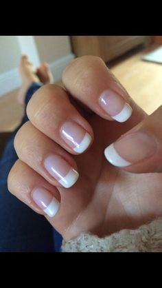 CND Shellac french manicure using creme puff with negligee