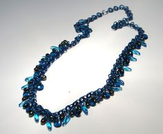 Necklace chain and blue beads