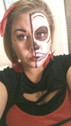 #HalfSkull #PrettySkull #SkullMakeup #HalloweenMakeup #RedBandana #DIYMakeup