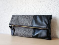 Leather Clutch in Black Italian Leather and European by iragrant, $65.00