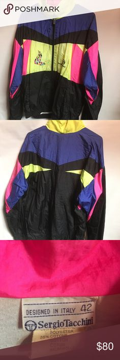 Vintage Sergio Tacchini Shiny Windbreaker Jacket Amazing Vintage Multicolored Sergio Tacchini Shiny Windbreaker Jacket. This jacket is gently worn and in great condition. This jacket says 42 on the tag. That translates to a Men's Large or Women's XL. Not sure if I want to let this go or not. Willing to listen to reasonable offers. Sergio Tacchini Jackets & Coats Utility Jackets
