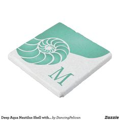 Deep Aqua Nautilus Shell with Monogram Stone Coaster - A great gift idea, this monogrammed stone coaster features an aqua teal nautilus shell and your desired monogram. Sold at DancingPelican on Zazzle.