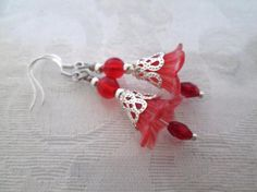 Frosted Red Acrylic Flower and Czech Glass Bead Silver Tone Earrings   $5, $2.50 flat shipping