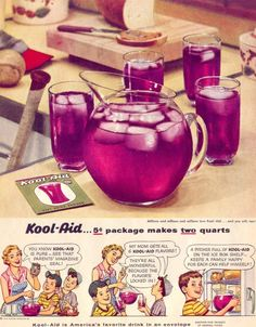 Kool - Aid advertisement from 1954, promoting the benefits of their 5 cents package which makes two quarts of Kool-Aid.