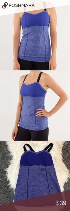 Lululemon Catch Me Tank Lululemon Catch Me tank in Tonka Stripe Pigment Blue. The color is called pigment blue but IMO it's def more of a purple shade. Lulu size 6 (fits a small according to size chart). Has bra padding. The tag is missing but it's in amazing like new condition. Open to offers and 30% off bundles! lululemon athletica Tops Tank Tops