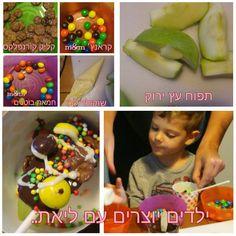 תפוח עץ, מקל סוכריה, שוקולד מומס, סוכריות צבעוניות...ילדים יוצרים עם ליאת Kids food Kids craft &play