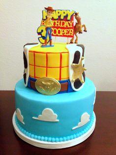 Toy Story fondant cake.  All marshmallow fondant.  Recipe at: http://caketalkblogger.blogspot.com/2014/04/cake-coutures-marshmallow-fondant.html   2D topper steps at:  http://caketalkblogger.blogspot.com/2014/05/mickey-cutout-cake-topper.html