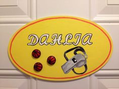 Personalized Door Plaque Sport theme by Kaithan Creations.  Available in different shapes and can be customized to your name, colors and theme.   Visit my Facebook page for more ideas. www.facebook.com/kaithancreations Door Plaques, Name Plaques, Wooden Plaques, Sport Theme, Wooden Doors, Different Shapes, Snoopy, Kids Rugs, Facebook