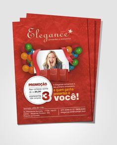 Panfleto de promoção de 1 ano da loja Elegance. Ferramentas: Photoshop CS4