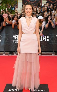 Italia Ricci from iHeartRadio Much Music Video Awards 2016 Red Carpet Arrivals  TheSupergirl star is pretty in pink!