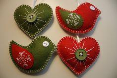 Felt hearts and bird ornaments.