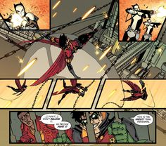 We are Robin 7. Tim Drake. Red Robin. Duck Thomas. Damian Wayne.