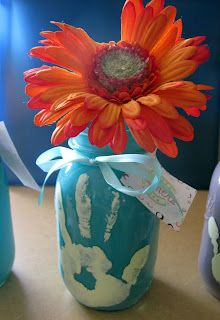 Hand Painted Mason Jar Vase – Christinas Adventures... Great for Grandparents Day!