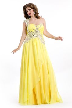 aad29ccd1d7 Wholesale Beaded One Shoulder Pleated Bust Yellow Plus Size Prom Dresses  Formal Plus Gowns
