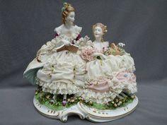 Image Detail for - Lg Antique German Porcelain Unterweissbach Figure w Dresden Lace ...