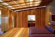 A view across the main bedroom – floor and walls of solid blackbutt, and blackbutt veneer 'ripples' above in ceiling coffer boxes. Bedroom Flooring, Coffer, Interior, Digital Media, House, Inspiration, Furniture, Walls, Ceiling
