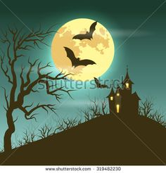Halloween illustration of mysterious night landscape with castle and full moon. Vector EPS 10