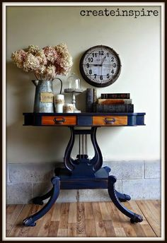 This beautiful reproduction music table from CreateInspire features our lable holders! This is really a beautiful project! Upscale Furniture, City Furniture, Diy Furniture Projects, Recycled Furniture, Furniture Making, Furniture Makeover, Diy Projects, Blue Painted Furniture, Refinished Furniture