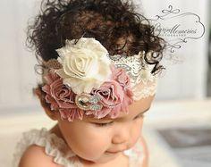 Dusty Rose hoofdband/Baby hoofdband/Baby meisje haar accessoires/baby hoofdband/Baby meisje hoofdband/meisje hoofdband Baby/OohLaLaDivasandDudes