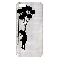 Wooden Banksy iPhone 5 Case Cover Banksy Girl and Balloon on Vintage Wood !