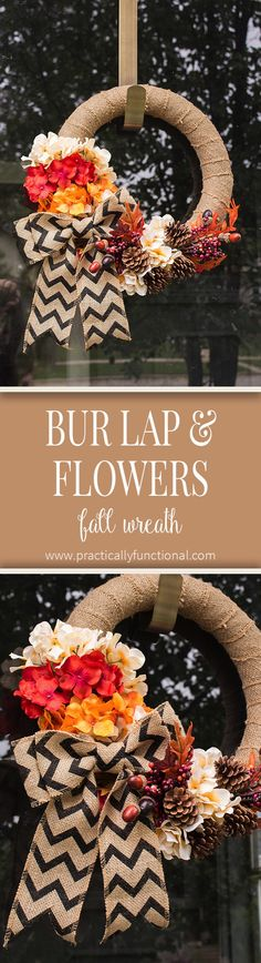 Simple DIY Burlap Wreath With Fall Flowers Make a cute burlap wreath with faux flowers for fall in just minutes with this tutorial! Thanksgiving Crafts, Fall Crafts, Kids Crafts, Fall Projects, Cool Diy Projects, Craft Projects, Jute, Diy Wreath, Wreath Ideas