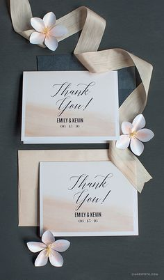 Blush Watercolor Thank You Cards
