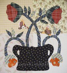 jan patek, appliqu block, art quilt, quilt block, flower pots