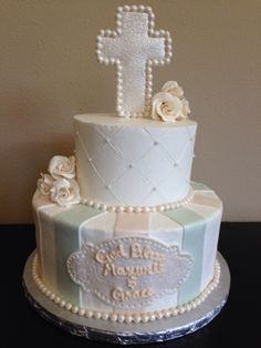 Christening cake idea for a boy and girl christening or communion.