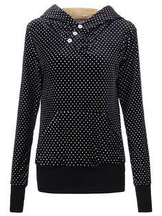 Sale 18% (20.56$) - Velvet Casual Black Polka Dot Pocket Button Hood Women Sweatshirt