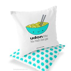 Funny Pillow I Love You Christmas Gift For Girlfriend Her Boyfriend Food Pun Romantic Anniversary Udon Noodles Handmade Throw Pillows Cover  Udon Know How Much I Love You. This cute and punny pillow cover is a fun gift for your girlfriend, boyfriend, wife, husband and other special