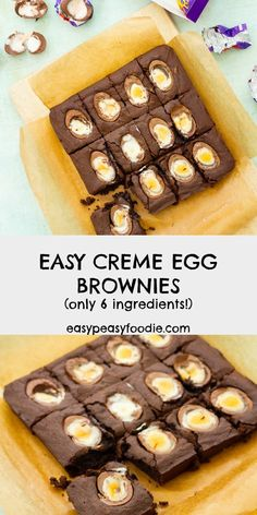 Delicious squidgy fudgy brownies with half a creme egg nestled in each slice. Better still this Easy Creme Egg Brownies recipe is quick and easy to make and only uses 6 ingredients! Brownie Recipes, Cake Recipes, Egg Recipes, Chocolate Recipes, Sweet Recipes, Creme Egg, Easy Baking Recipes, Fudgy Brownies, Easter Recipes