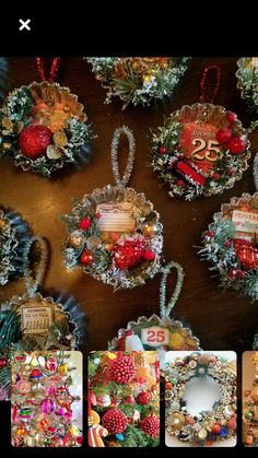 Take a tart tin, vintage gift wrap, picks & decor from your collection or a fav thrift shop & you've got yourself a fav Christmas tree ornament. Add a little glitter and faux snow and voila! Vintage Christmas Crafts, Christmas Ornaments To Make, Victorian Christmas, Retro Christmas, Homemade Christmas, Rustic Christmas, Christmas Projects, Christmas Tree Decorations, Holiday Crafts