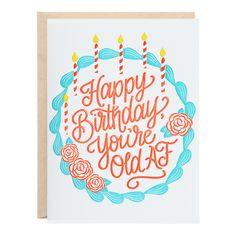 Old AF Birthday Letterpress Greeting Card